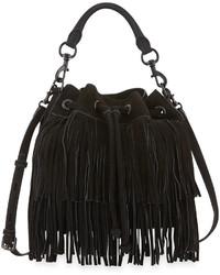 Черная сумка-мешок c бахромой
