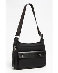 Черная сумка через плечо из плотной ткани