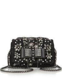 Черная сумка через плечо с украшением
