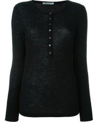 Женская черная футболка на пуговицах от Alexander Wang