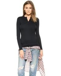 Женская черная футболка на пуговицах от ATM Anthony Thomas Melillo