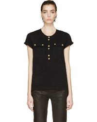 Женская черная футболка на пуговицах от Balmain