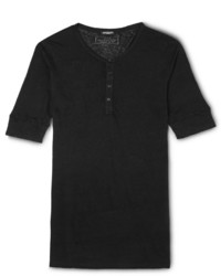 Мужская черная футболка на пуговицах от Balmain