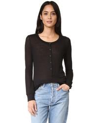 Женская черная футболка на пуговицах от David Lerner