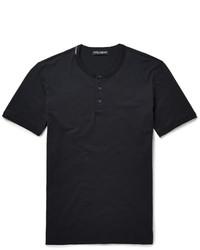 Мужская черная футболка на пуговицах от Dolce & Gabbana