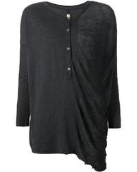 Женская черная футболка на пуговицах от Raquel Allegra