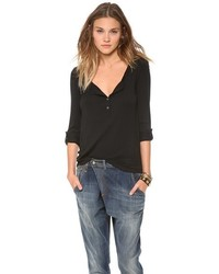 Женская черная футболка на пуговицах от Splendid