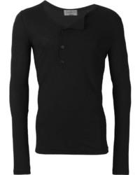 Мужская черная футболка на пуговицах от Yohji Yamamoto