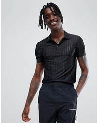 Мужская черная футболка-поло в вертикальную полоску от ASOS DESIGN