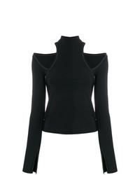 Женская черная футболка с длинным рукавом с вырезом от Beaufille
