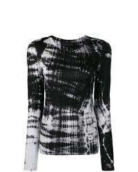 Женская черная футболка с длинным рукавом с принтом тай-дай от Diesel Black Gold