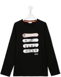 Детская черная футболка с длинным рукавом с принтом для мальчику