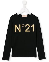 Детская черная футболка с длинным рукавом с принтом для девочке