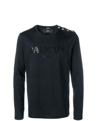 Мужская черная футболка с длинным рукавом с принтом от Balmain