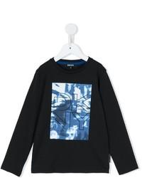 Детская черная футболка с длинным рукавом с принтом для мальчику от DKNY