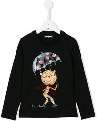 Детская черная футболка с длинным рукавом с принтом для девочке от DSQUARED2