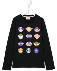 Детская черная футболка с длинным рукавом с принтом для девочке от Fendi