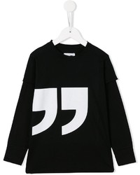 Детская черная футболка с длинным рукавом с принтом для мальчику от nununu