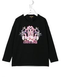 Детская черная футболка с длинным рукавом с принтом для девочке от Roberto Cavalli