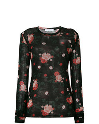 Женская черная футболка с длинным рукавом с цветочным принтом от Vivetta