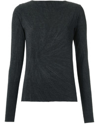 Женская черная футболка с длинным рукавом