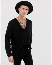 Мужская черная футболка с длинным рукавом от ASOS DESIGN
