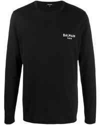 Мужская черная футболка с длинным рукавом от Balmain