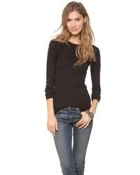 Женская черная футболка с длинным рукавом от Enza Costa