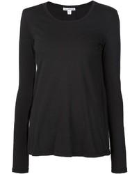 Женская черная футболка с длинным рукавом от James Perse