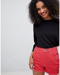 Женская черная футболка с длинным рукавом от Monki