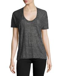 Черная футболка с круглым вырезом в горизонтальную полоску