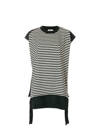 Женская черная футболка с круглым вырезом в горизонтальную полоску от Moncler