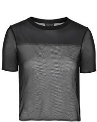 Черная футболка с круглым вырезом в сеточку