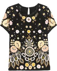 Черная футболка с круглым вырезом с вышивкой