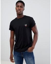 Мужская черная футболка с круглым вырезом с вышивкой от New Look