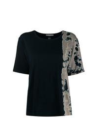 Женская черная футболка с круглым вырезом с принтом тай-дай от Suzusan