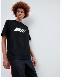 Мужская черная футболка с круглым вырезом с принтом от ANTIMATTER