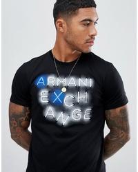 Мужская черная футболка с круглым вырезом с принтом от Armani Exchange