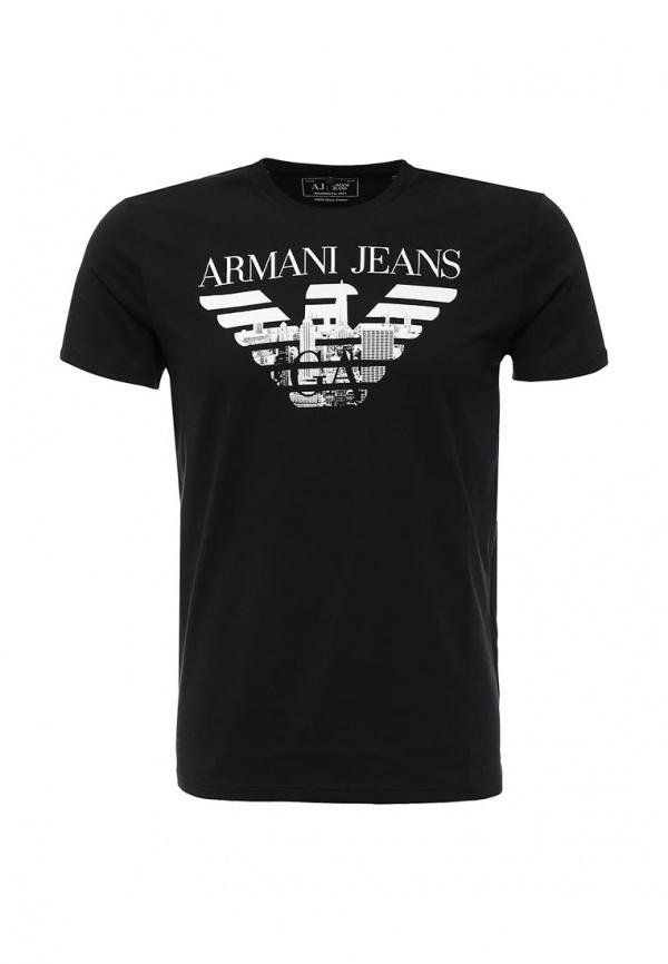 648383ace218 6 699 руб., Мужская черная футболка с круглым вырезом с принтом от Armani  Jeans