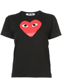Женская черная футболка с круглым вырезом с принтом от Comme des Garcons