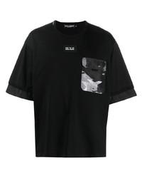 Мужская черная футболка с круглым вырезом с принтом от Dolce & Gabbana