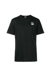 Мужская черная футболка с круглым вырезом с принтом от Dust