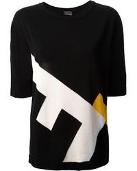 Женская черная футболка с круглым вырезом с принтом от Fendi
