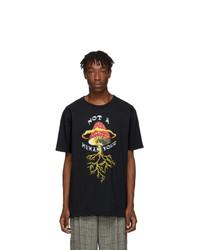 Мужская черная футболка с круглым вырезом с принтом от Gucci