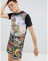 Мужская черная футболка с круглым вырезом с принтом от Jaded London
