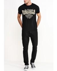 Мужская черная футболка с круглым вырезом с принтом от Lonsdale