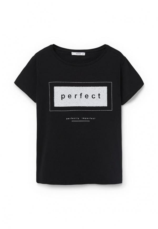 67843ab5635c0 Женская черная футболка с круглым вырезом с принтом от Mango, 1 499 ...