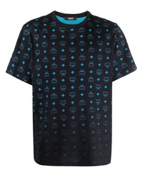Мужская черная футболка с круглым вырезом с принтом от MCM