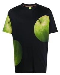 Мужская черная футболка с круглым вырезом с принтом от Paul Smith