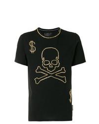 Мужская черная футболка с круглым вырезом с принтом от Philipp Plein